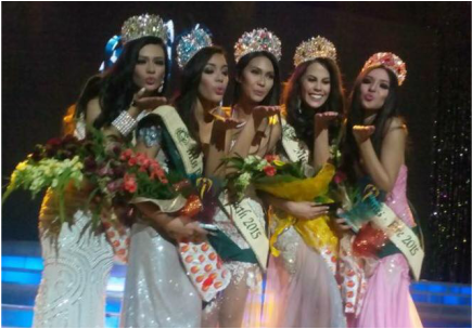 Miss Philippines-Water Catherine Joy Marin (Bago City), Miss Philippines- Ecotourism Jona Sweet (Iloilo City), Miss Philippines-Earth Angelia Gabrena Ong, Miss Philippines-Air Chanel Olive Thomas (San Antonio, Nueva Ecija) and Miss Philippines-Fire Carla Angela Valderrama (Siniloan, Laguna) pose before the media during the coronation on Sunday night at Mall of Asia Arena