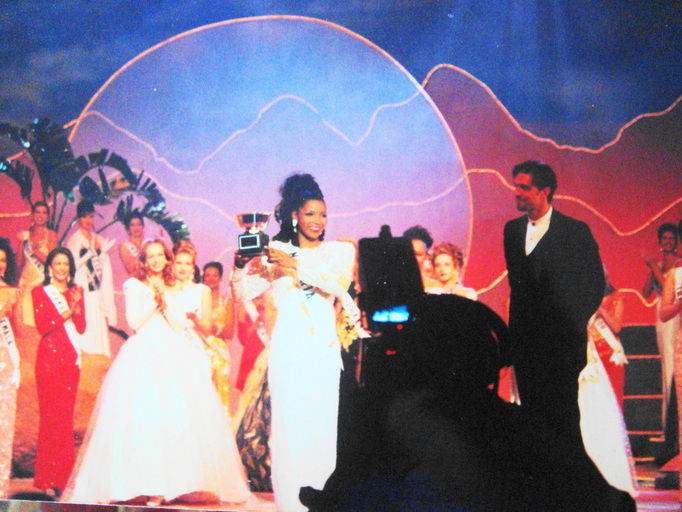 Winning the Miss Congeniality Award at the 1995 Miss Universe pageant in Windhoek Namibia.