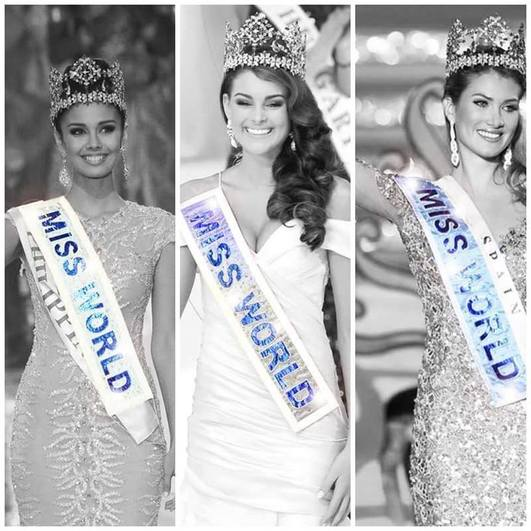 Donning Miss World Sashes, Miss World 2013, Megan Young, Miss World 2014, Rolene Strauss and Miss World 2015, Mireia Lalaguna