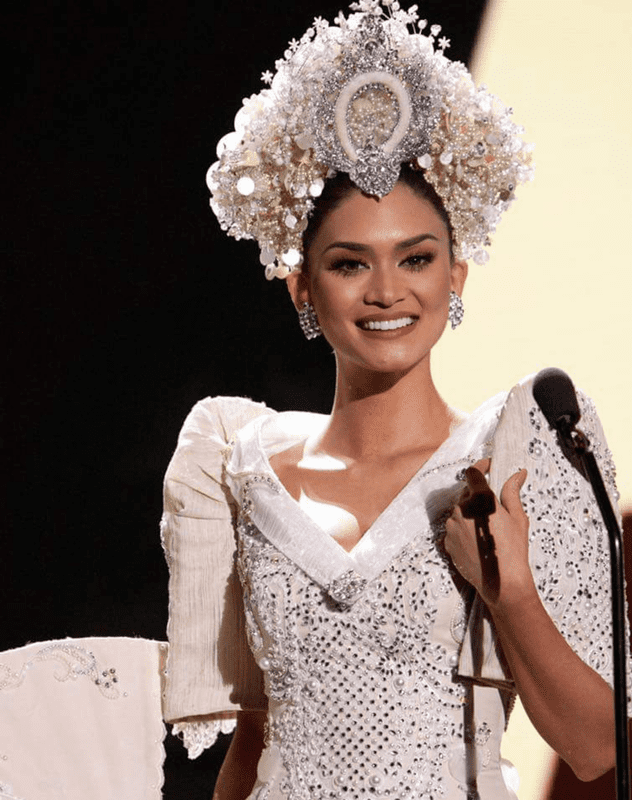 In her national costume on stage at the Miss Universe 2015 pageant