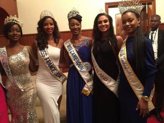 Ngoua Nseme Jessica Lydie Miss World Cameroon 2015 flanked by some African beauty queens: Miss Gabon Universe2015 , Reine Ngotala and Miss Gabon 2014 , Maggaly Ornellia Nguema