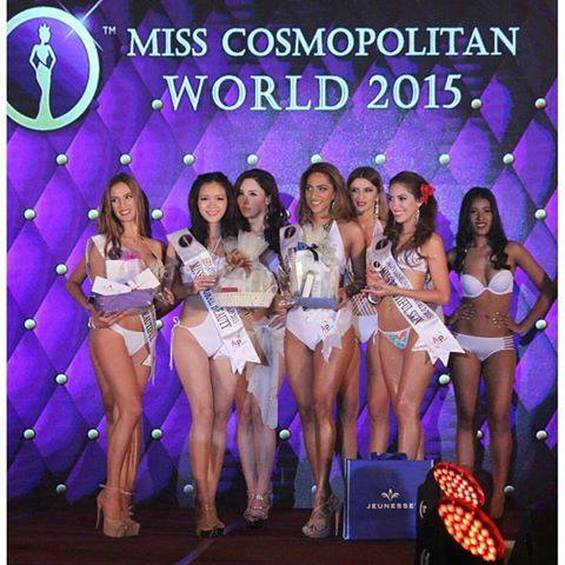 MISS COSMOPOLITAN WORLD 2015 Final Competition Special Awards Miss Body Beautiful - Andrea Ankovic - Croatia  Miss Natural Beauty - Lai Ying Shih -Taiwan  Miss Perfect Brow - Kohinoor Kaur- Malaysia Miss Beautiful Skin - Vanessa Guimoye -Peru
