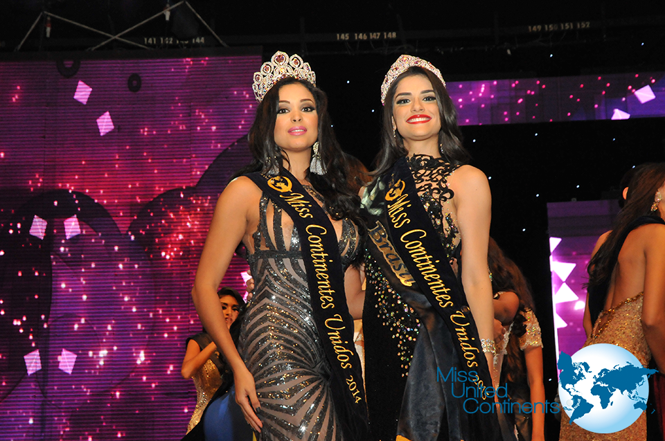 Miss United Continents 2014 Geish Montes de Oca from Dominican Republic and her successor Nathalia Lago from Brazil.