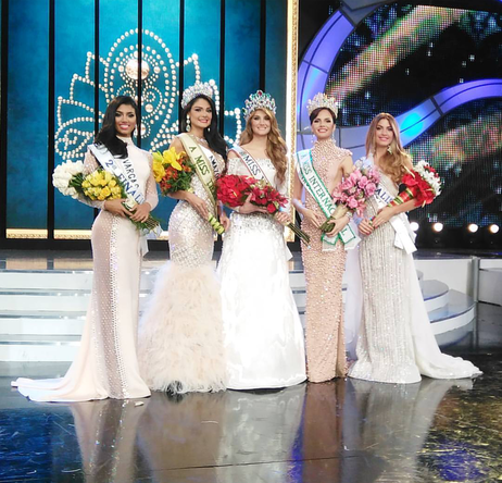 Miss Venezuela 2015 Mariam Haback and her court: Miss Venezuela Internacional 2015 went to Miss  Trujillo, Jessica María Duarte, Miss Venezuela Tierra 2015 was awarded to Miss  Amazonas, Andrea Rosales with Miss Vargas and Miss Yaracuy