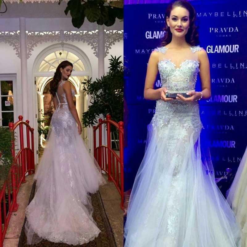 Rolene Strauss Miss World 2014,  looks divinely ethereal in this to die for Biji La Maison dress at the Glamour South Africa, Most Glamorous Women event.
