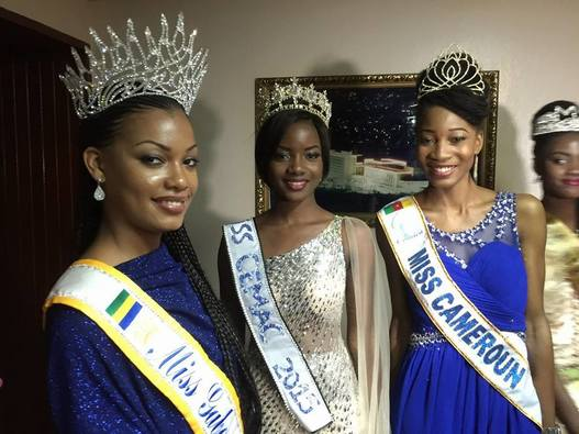 Ngoua Nseme Jessica Lydie Miss World Cameroon 2015 flanked by some African beauty queens: Miss Gabon Universe2015 , Reine Ngotala and Miss Gabon 2014 , Maggaly Ornellia Nguema who is currently Miss CEMAC 2015