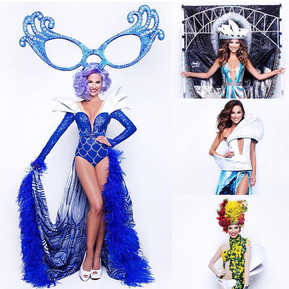 Miss Universe Australia, Monica Radulovic  selection where she opted for the Dame Edna inspired Timothy Cubbo  costume on rig