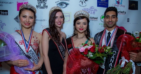 Miss World Canada 2014 Annora Bourgeault, Miss World Canada 2015 Anastasia Lin, Mr. World Canada 2015 Jinder Atwal, First Runner-Up and People's Choice Award Winner Betty Lu