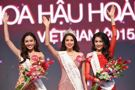 The winner of Miss Universe vietnam 2015 pham ti huong and her runners up