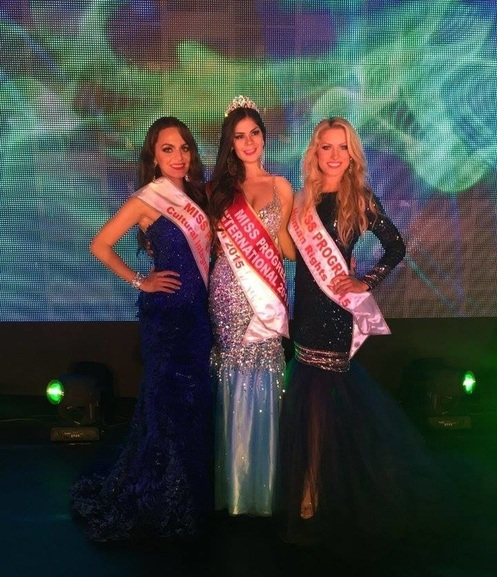 Liz Arevalos the grand winner  IS miss progress international 2015 with The award for  Miss Progress Human Rights 2015 went to Susanna Shkrabak from the USA. Miss Progress Integration of Cultures 2015 went to Neidy Robles from Mexico.