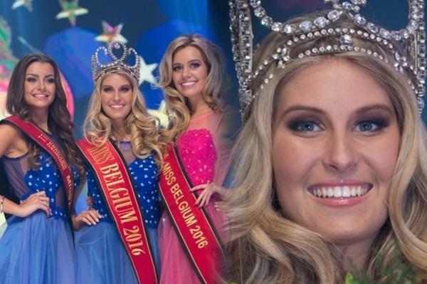 Lenty-Franz, Miss-Belgium 2016 after her victorious flanked by 2nd runner-up: Bo Praet and 1st runner: Stephanie Geldhof