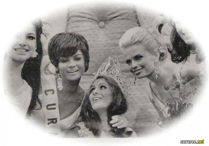 Brazil - Martha Maria Cordeiro Vasconcellos Miss Universe 1968 flanked by her runners-up