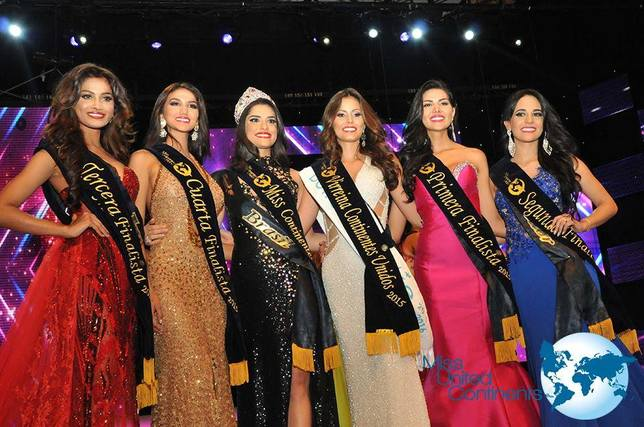 3rd Runner Up: Sushrii Shreya (India), 4th Runner Up: Kimberly Castillo (Dominican Republic), Miss United Continents 2015: Nathalia Lago (Brazil), Vice-queen: Daniela Castañeda (Colombia), 1st Runner Up: Myriam Arévalos (Paraguay) and 2nd Runner Up: María Emilia Cevallos (Ecuador).