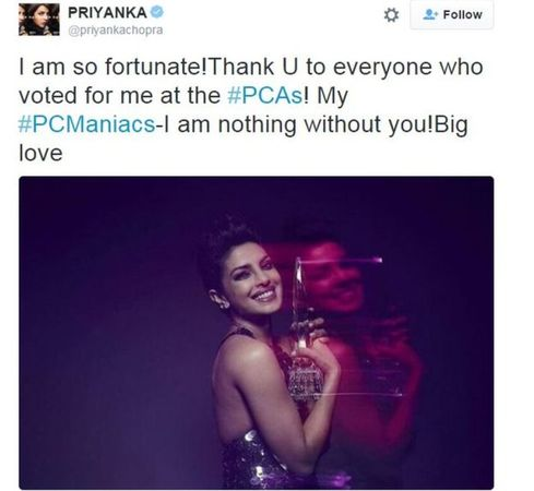 Priyanka Chopra's tweet after winning the people's choice award for Quantico