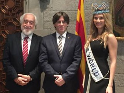 Mireia Lalaguna's home coming with Catalonian President who stated that the presidents door will always be open to listen to any projects Miss World has planned.