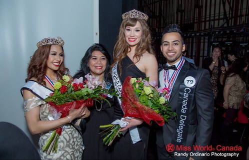 Second Runner-Up Raven Yray, Third Runner-Up Becky Molly and Sahil Chawla - Mr World Canada Delegate