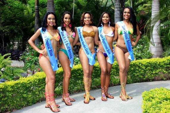 Miss Jamaica World Contestants (from Left) Melissa Tate-Miss Tropical Bliss; Whitney Levy-Miss S&G Road Servicing; Abigail Stewart-Miss Evergrow Garden Center; Shanique Singh-Miss Maxie Department Store and Renae Wilson-Miss Optical Solutions.
