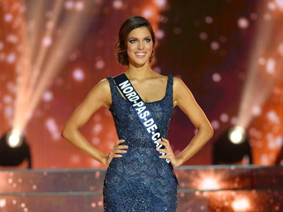 Iris Mittenaere on stage at the Miss France 2016 pageant where she was crowned