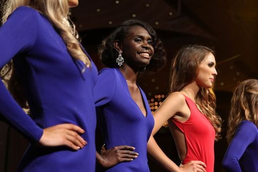 On stage at the Miss World Australia pageant - Finalist at the Miss World Australia  -Maminydjama Magnolia Maymuru